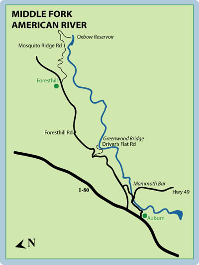 Middle Fork American Mile-By-Mile Map