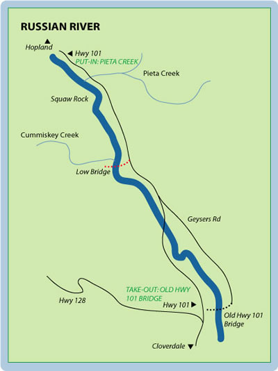 Russian River Mile-By-Mile Map