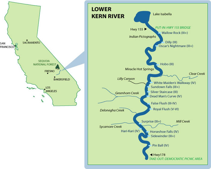Lower Kern Mile By Mile Map