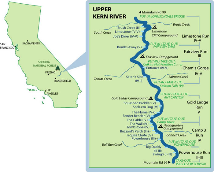 Upper Kern  Mile-By-Mile Map
