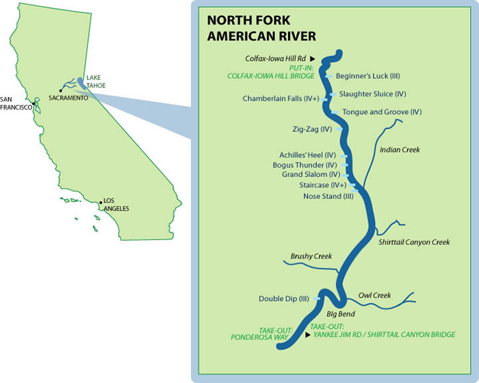 Map Of America Rivers.North Fork American Mile By Mile Map