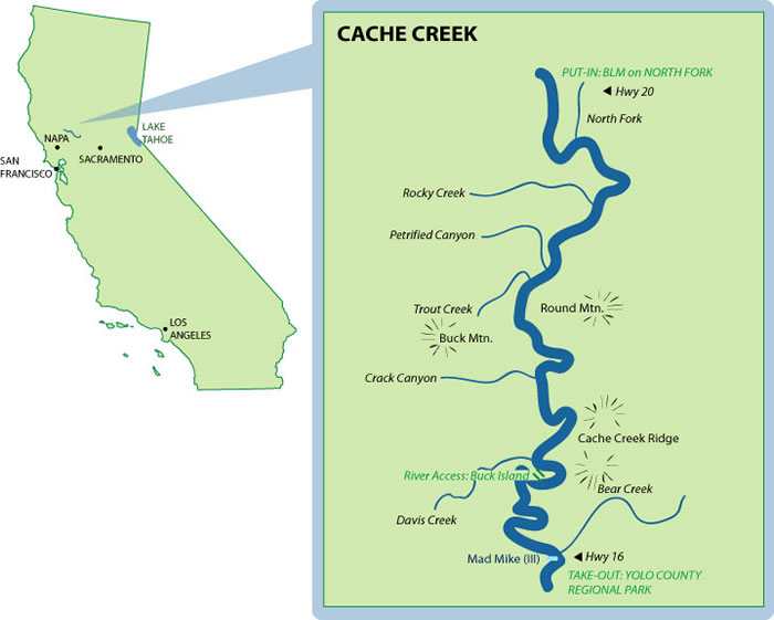 Cache Creek Mile-By-Mile Map