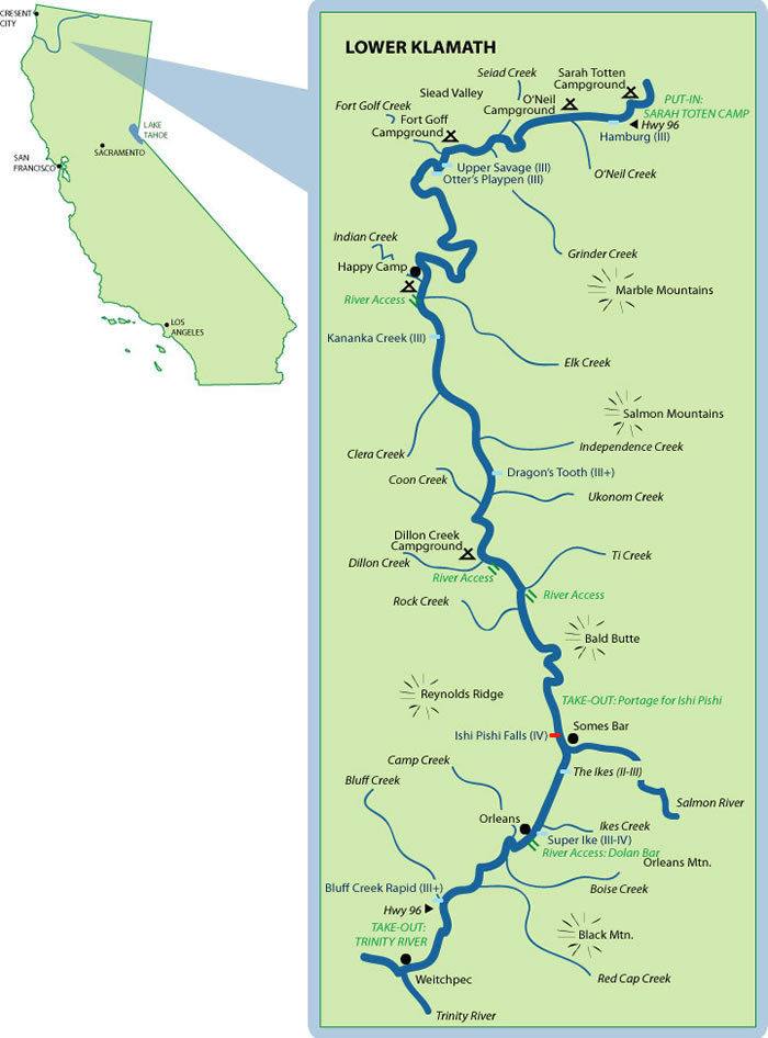 White Water Rafting California Map.Lower Klamath Mile By Mile Map