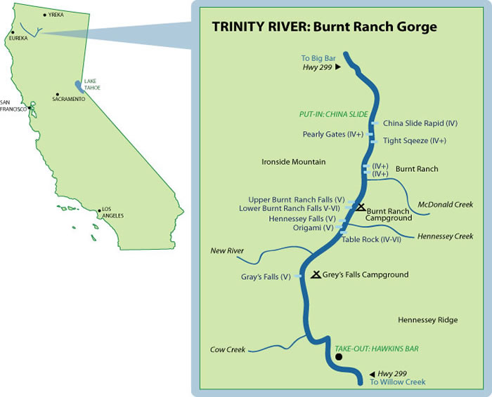 Burnt Ranch Gorge Mile-By-Mile Map