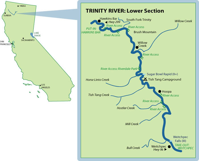 White Water Rafting California Map.Trinity River Mile By Mile Map