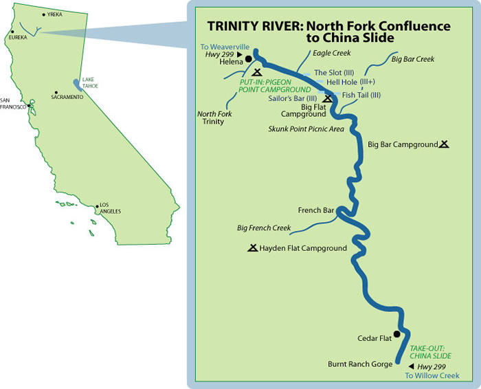 North Fork Tinity River Mile-By-Mile Map