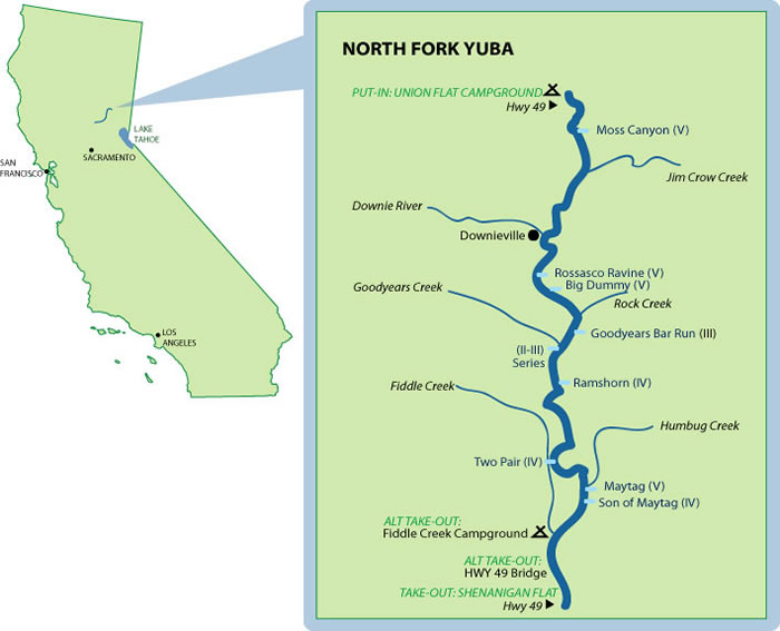 North Fork Yuba River Mile-By-Mile Map